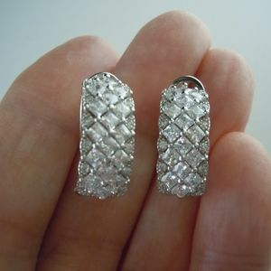 Jewelry - Cubic Zirconia 925 SS Half Hoops